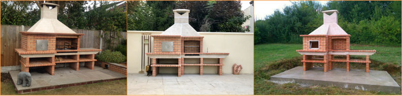 Brick barbecue kit with oven and sink