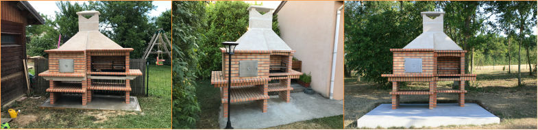 Brick barbecue grill with oven