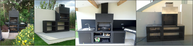 Moderne cast stone barbecue with sink