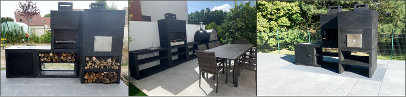 Modern Cast stone Barbecue with oven and Sink